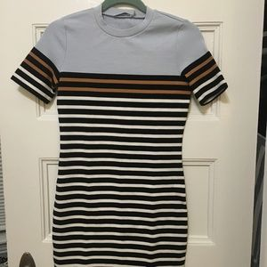 T By Alexander Wang Striped T Shirt Dress